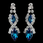 Silver Teal Marquise Rhinestone Drop Earrings 8361