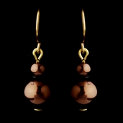 Gold Brown Glass Pearl Drop Earrings 8601