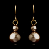 Gold Light Brown Glass Pearl Drop Earrings 8601