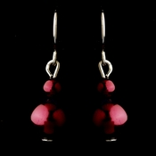 Silver Burgundy Glass Pearl Drop Earrings 8601***Discontinued***