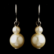 Silver Ivory Glass Pearl Drop Earrings 8601