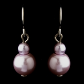 Silver Light Amethyst Glass Pearl Drop Earrings 8601