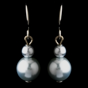Silver Light Blue Glass Pearl Drop Earrings 8601