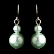 Silver Peridot Glass Pearl Drop Earrings 8601