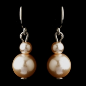 Silver Pink Glass Pearl Drop Earrings 8601