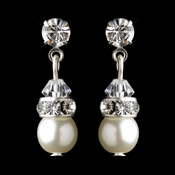 Silver White Czech Pearl & Clear Rhinestone Drop Clipped Earrings 8606 **Discontinued**