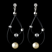 Silver Ivory Pearl Illusion Dangle Earrings 8607