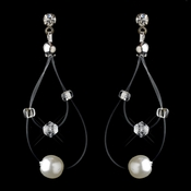 Silver White Pearl Illusion Dangle Earrings 8607
