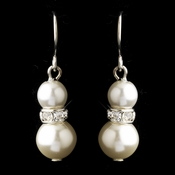 Silver White Czech Glass Pearl & Rhinestone Rondelle Drop Earrings 8667