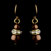 Gold Brown Czech Pearl & Clear Rhinestone Rondelle Drop Earrings 8805