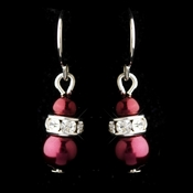 Silver Burgundy Czech Pearl & Clear Rhinestone Rondelle Drop Earrings 8805***Discontinued***