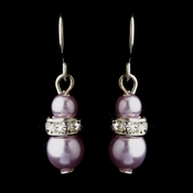 Silver Light Amethyst Czech Pearl & Clear Rhinestone Rondelle Drop Earrings 8805