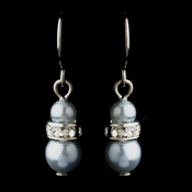 Silver Light Blue Czech Pearl & Clear Rhinestone Rondelle Drop Earrings 8805