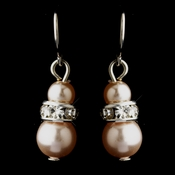 Silver Pink Czech Pearl & Clear Rhinestone Rondelle Drop Earrings 8805