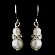 Silver White Czech Pearl & Clear Rhinestone Rondelle Drop Earrings 8805