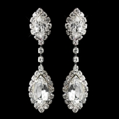 Silver Clear Marquise Rhinestone Drop Earrings 8874