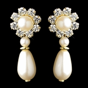 Gold Ivory Pearl & Clear Rhinestone Floral Drop Earrings 9061
