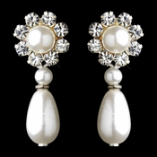 Silver White Pearl & Clear Rhinestone Floral Drop Earrings 9061