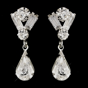 Silver Clear Round, Baguette and Teardrop Rhinestone Drop Pierced Earrings 9182