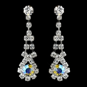 Silver AB & Clear Rhinestone Dangle Earrings 9381