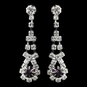 Silver Amethyst & Clear Rhinestone Dangle Earrings 9381