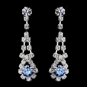 Silver Aqua & Clear Rhinestone Dangle Earrings 9381