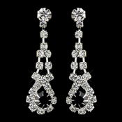 Silver Black & Clear Rhinestone Dangle Earrings 9381