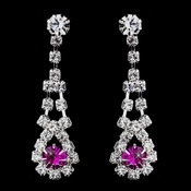 Silver Fuchsia & Clear Rhinestone Dangle Earrings 9381