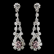 Silver Light Amethyst & Clear Rhinestone Dangle Earrings 9381