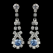 Silver Light Blue & Clear Rhinestone Dangle Earrings 9381