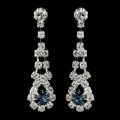 Silver Navy & Clear Rhinestone Dangle Earrings 9381