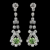 Silver Peridot & Clear Rhinestone Dangle Earrings 9381