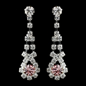 Silver Pink & Clear Rhinestone Dangle Earrings 9381