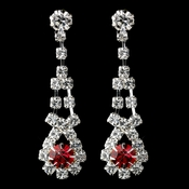 Silver Red & Clear Rhinestone Dangle Earrings 9381