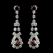 Silver Ruby & Clear Rhinestone Dangle Earrings 9381