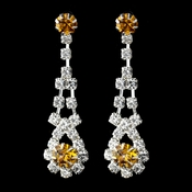Silver Topaz & Clear Rhinestone Dangle Earrings 9381