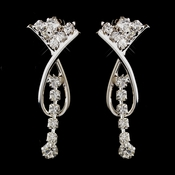 Silver Clear Rhinestone Twist Dangle Earrings 9479