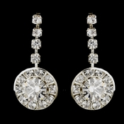 Silver Clear Round Rhinestone Drop Earrings 9800