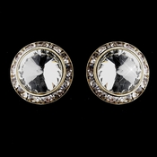 Gold Clear Round Rhinestone Rondelle Stud Clipped Earrings 9932