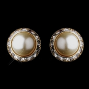 Gold Ivory Pearls & Clear Round Rhinestone Rondelle Stud Pierced Earrings 9932