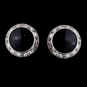Silver Black Round Rhinestone Rondelle Stud Pierced Earrings 9932