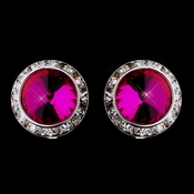 Silver Fuchsia Round Rhinestone Rondelle Stud Clipped Earrings 9932