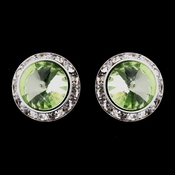 Silver Peridot Round Rhinestone Rondelle Stud Pierced Earrings 9932