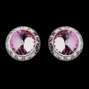 Silver Pink Round Rhinestone Rondelle Stud Pierced Earrings 9932