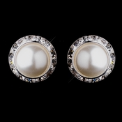 Silver White Pearl & Clear Round Rhinestone Rondelle Stud Clipped Earrings 9932