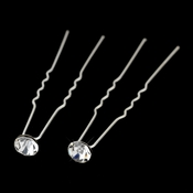 Silver Clear Rhinestone Hair Pin 0700