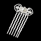 Silver White Pearl Filigree Hair Comb 1075