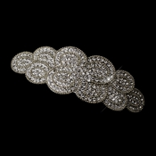 Antique Silver Rhodium Clear Rhinestone Swirl Hair Barrette 1123