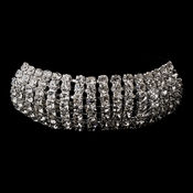 Silver Clear Rhinestone Ponytail Hair Black Elastic 7044