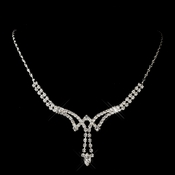 Silver Clear Marquise Rhinestone Necklace 0066